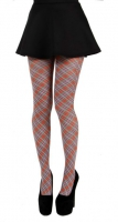 Small diagonal red tartan tights