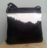 Leather and cowhide shoulder bag