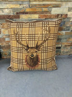 Stag check cushion cover