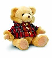 Hamish bear with tartan duffle coat