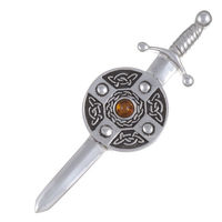 Sword & shield kilt pin with amber stone