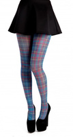 Jackson plaid tights - Petrol blue