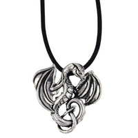 Winged dragon small pendant – leather thong