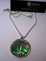 Tree of life pendant with green glitter enamel