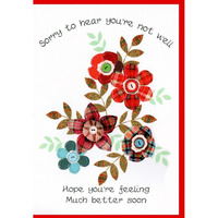 Get Well Tartan Flowers Card