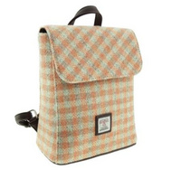 Harris Tweed 'Tummel' Mini Backpack in Coral Gingham