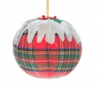 Tartan plum pudding Christmas decoration