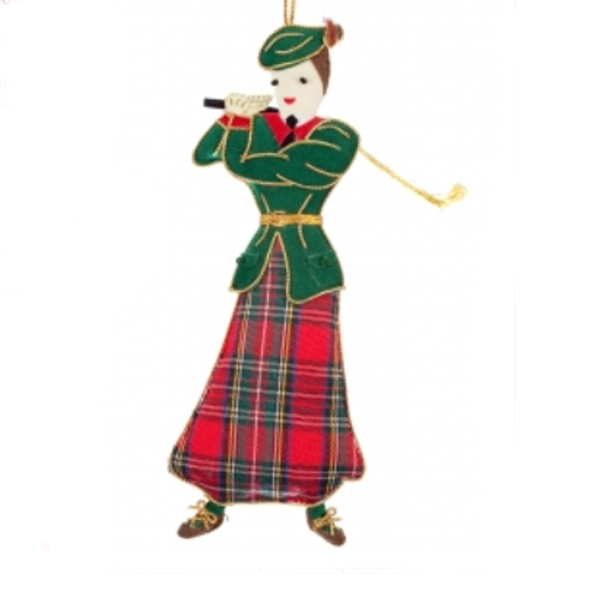 Scottish lady golfer. Christmas tree decoration from Scotland, the Home of Golf. A different present for a lady who plays golf.