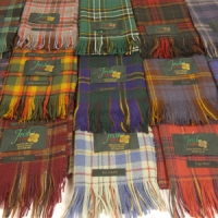 County tartan brushed wool scarves