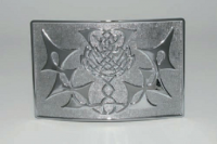 Kilt belt buckle with embossed thistle
