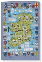 Irish linen tea towel with map of Ireland